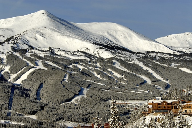 Breckenridge ski resort in winter beautiful mountain log home