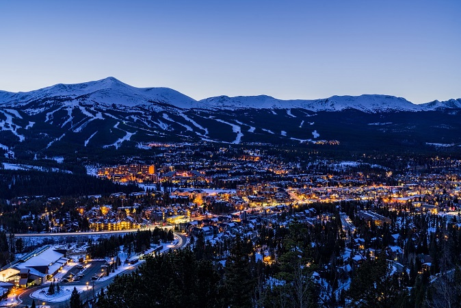 Nightime in Breckenridge CO town lit up