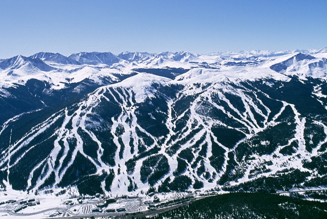 Copper Mountain ski area from above colorado