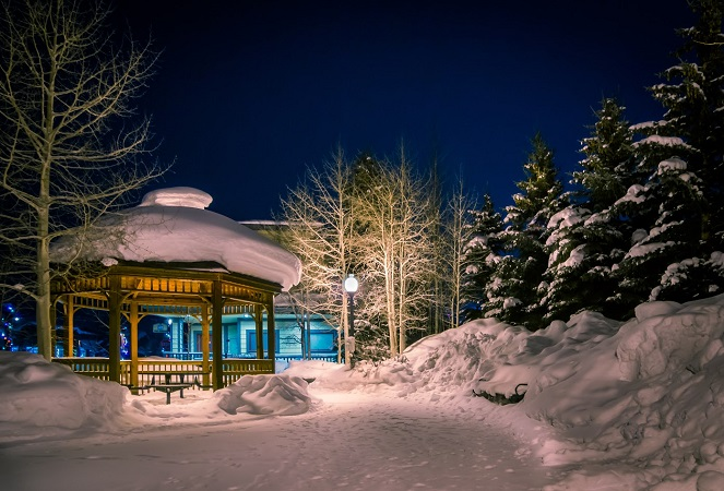 gazebo in frisco co covered in snow